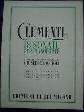 SPARTITO-CLEMENTI-18 SONATE PER PIANOFORTE-REV. PICCIOLI-VOL. II-SONATE 7-12