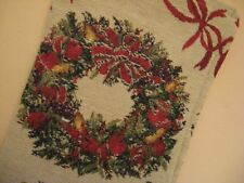 Tapestry Christmas Stocking FRUIT FILLED WREATHS RIBBON
