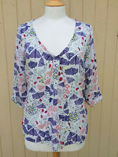 whitestuff blouse/shirt size 14 mauve white butterflies & ladybirds casual boho