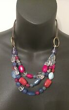 Vintage American Pride Necklace Red White & Blue USA Colors Beads Leather Ladies