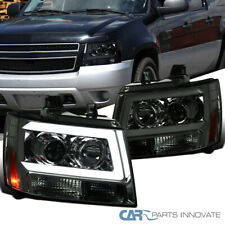 For 07-13 Avalanche Suburban Tahoe Smoke Tinted LED DRL Bar Projector Headlights