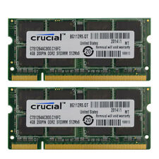 New Crucial 8GB 2X4GB PC2-6400 DDR2 PC6400 800Mhz SoDimm 200pin Laptop Memory