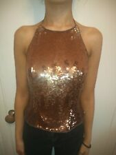 Womens Ladies New Sequin Slick Embellished Camisole Top 2 colours Sizes 8-16