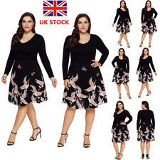 Plus Size Women Floral Long Sleeve Swing Dress Rockabilly Evening Party Dress