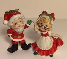 Vintage RARE Christmas Figurines Decor Children Santa and Mrs.Claus Dancing Set