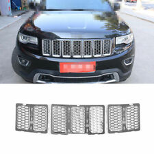 Front Center Mesh Grille Cover Trim Silver Fit For Jeep Grand Cherokee 2014-2016