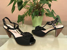 Ladies Marks & Spencer black canvas/patent t-bar ankle strap shoe UK 5.5 EU 38.5