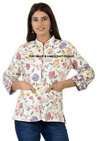 Bunt Indisch Kantha Gesteppt Gefüttert Hand Block Bedruckt Baumwolle Damen Jacke