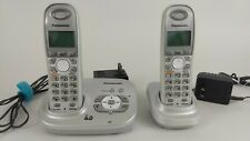 New ListingPanasonic Kx-Tga6321S Dect6.0 1.9 Ghz Cordless 2 Handset Phone System Works