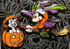 Disney Halloween Minnie Mouse Witch & Figaro Cat Pumpkin Pin NEW ON CARD