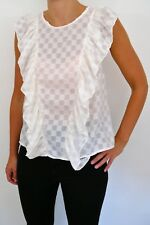 Mademoiselle pretty fresh sheer cream ruffle top with checker pattern UK 10