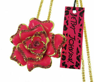 Betsey Johnson Rhinestone Pink Enamel Rose Flower Pendant Necklace Sweater Chain