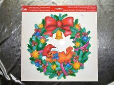 Fensterbilder Weihnachten- Bär im Kranz WIEDERVERWENDBAR Winter Fensterdeko- Neu