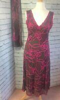 Phase Eight Tapework Cocktail Dress with matching Shawl Brown / Pink UK Size 14