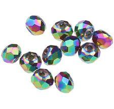 25 TSCHECHISCHE KRISTALL PERLEN GLAS RONDELLE 4mm Irisierend Grün BEST X74