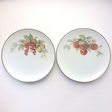 "Pair of Hutschenreuther Germany Plates 8"" Berries Strawberry Gilt Edges"