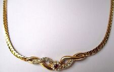 collier ancien bijou vintage plaqué or cristaux imitation diamant rubis 532