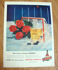 1957 Four Roses Whiskey Whisky Ad Scores Every Time Hockey Theme