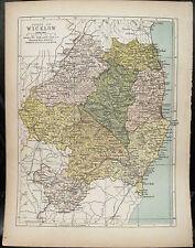 Irish Map County WICKLOW Ireland Mtns Bray Arklow Colored PW Joyce 1905 7x9.5