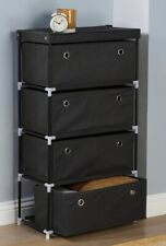 New Fabric 4 Drawer Cabinet Storage Unit Wide Chest of 4 Drawers Organiser