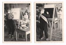 PHOTO Classe de Maternelle 1950 École Écolier Atelier Dessin Chevalet Peinture