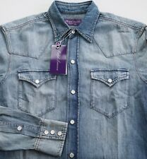 ec8b7f4b NWT Authentic RALPH LAUREN PURPLE LABEL Blue DENIM WESTERN SLIM-FIT Shirt XS