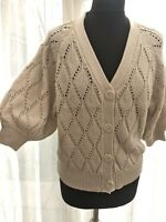 Next 16 short balloon sleeve pointelle knit cardigan Bnwt