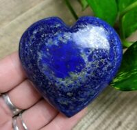 "2.3"" LAPIS LAZULI w PYRITE Puffy Heart H15 Crystal Reiki Charged 4.4oz"