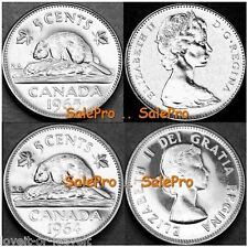 2x CANADA 1964 1965 CANADIAN BEAVER QUEEN ELIZABETH 5 CENT SEALED COINS LOT UNC