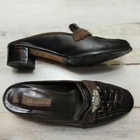 """Brighton Womens Brown Leather Croc Slides """"Avery"""" Size 9.5 M Comfort Mules Heels"""