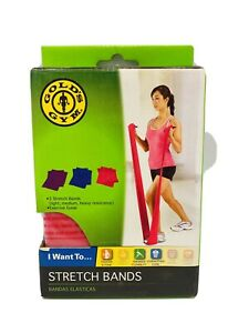 Gold's Gym Stretch Bands Light Medium Heavy Tighten Tone Flexibilty