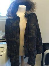 Bershka asos Coat parka jacket padded jacket faux khaki Camouflage Size S