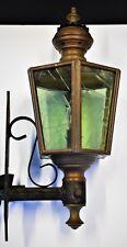 Handmade Copper Wall Lantern Outdoor Light With Green Glass & Cast Iron Bracket