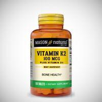 Mason Vitamin K2 100mcg Plus D3 1000iu - 100 Tablets