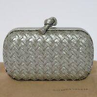 BOTTEGA VENETA Gray Woven Snakeskin Limited Edition Silver Beaded Knot Clutch NY