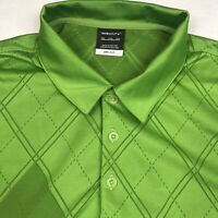 Mens Nike Golf Dri Fit Green Geometric Design Golf Polo Shirt Size 2XL XXL EUC