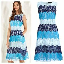 Look Again Size 14 16 Simply Fab Blue Tones Stripe Lace Occasion DRESS rrp £60