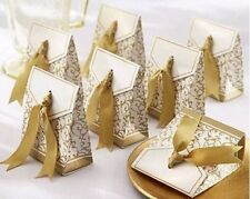 20 Ivory & Gold Wedding Gift boxes with Ribbon, Sweet boxes Favour Box Bags