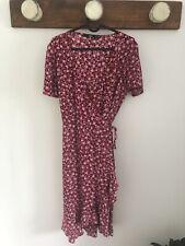 Sportsgirl Red Floral Midi Wrap Dress Size 10