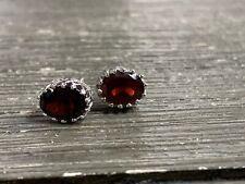 Sterling Silver Garnet Oval Stud Earrings