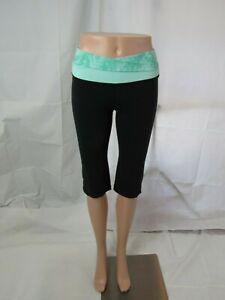 Lululemon Black Capri Leggings with Tie Dye Green Waist Band Size 4