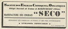 W6202 Manufacture des engrais SECO - Ribècourt - Pubblicità 1934 - Advertising