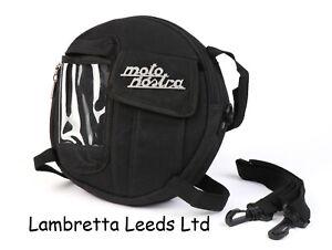 LAMBRETTA & VESPA SPARE WHEEL BAG MOTO NOSTRA BLACK CLASSIC .WAXED CANVAS .