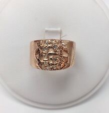10K Vintage Thick Rose Gold Band With Raw Diamonds Set In The Initial C Size 10