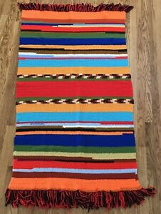 Vintage Handmade Afghan Throw Blanket Knit Crochet Multi-Color Bright Southwest