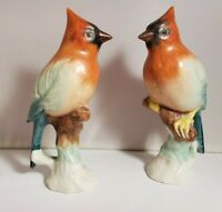 Pair of Vintage Porcelain Birds- beautiful red head teal and blue wings cardinal