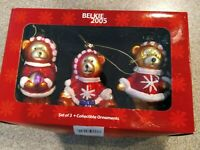 BELKIE 2005 SET OF 3 BEARS GLASS Christmas ORNAMENTS INCLUDES BOX 4 ""