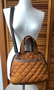 LeSportsac brown quilted puffer domed Satchel + Crossbody strap tons of pockets