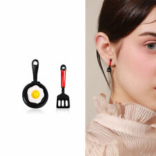Funny Asymmetric Stud Earrings Enamel Fried Egg Earrings For Women Jewelry Gift
