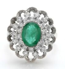 3.53 Carat Natural Brazilian Emerald and Diamonds in 14K Solid White Gold Ring